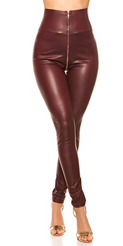 Koucla Damen High Waist Wetlook Lederlook Leggings (Bordeaux, S)