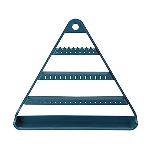 Soporte de organizador de la joyería colgante Triángulo de la joyería Pendiente de la pantalla Pantalla de la pantalla con la bandeja de plástico Montado en la pared Rack de almacenamiento de la pared