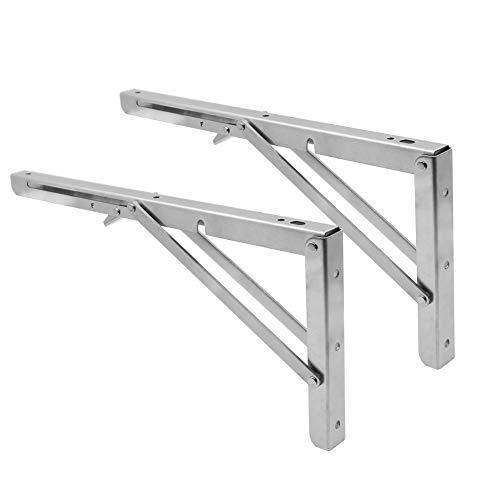 Fällbara hyllfästen 35,5 cm, kraftig rostfritt stål triangel väggmonterad hopfällbar hyllkonsol för bänkbord, hylla gångjärn gör-det-själv-konsol max belastning, paket med 2 (35,5 cm)