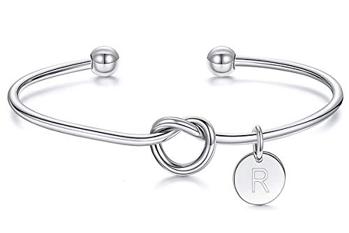 Dczosily Bridesmaids Gifts for Wedding Tie The Love Knot Bracelet with 26 Initials Bridesmaid Proposal Gifts with Box and Card (Silver, R)