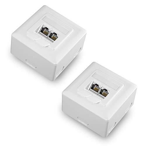 benon 2X Netzwerkdose universal CAT 6a Ethernet im Set - Internetdose vollständig geschirmt - RAL 9003 Signalweiß - Datendose Aufputz oder Unterputz - Ethernetdose RJ45, 500MHz, 10Gbit