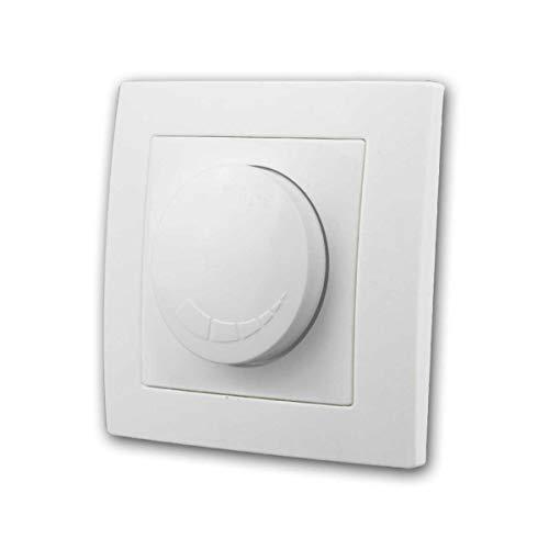 FLAIR LED Dimmer Schalter weiß 250V~/300W, mit Rahmen, für elektronische Trafos, für LED Leuchtmittel, schaltet 20W bis 300W, Dimmfunktion über Drehschalter, mit Dimmer-Memory, Unterputz