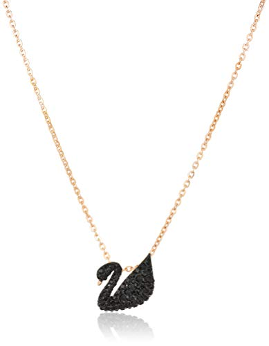 Swarovski Pendente Swarovski Iconic Swan, nero, Placcato oro rosa