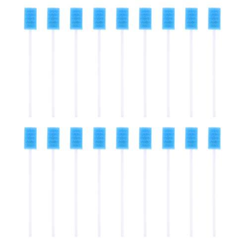 Supvox 100 Stücke Mundstäbchen Mundpflegestäbchen Einweg Mund Schwamm Sterile Wattestäbchen Schwamm Mundpflege Tupfer Mundhygiene Stäbchen(Blau)