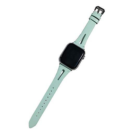 Xnhgfa Correa Compatible con Apple Watch 44 mm 42 mm 40 mm 38mm, Vintage Pulsera de Cuero Genuino Compatible iWatch Series 6 5 4 3 2 1 Mujeres Hombres,Verde,38MM/40MM