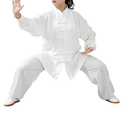 FUYUFU Algodón y Lino Traje de Tai Chi Unisex Ropa de Artes Marciales Kung-fu Disfraz para Hombre y Mujer (un Conjunto) (Blanco, L)