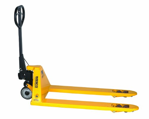 "Wesco 272667 Pallet Truck with Hand Brake, Polyurethane Wheels, 5500 lbs Load Capacity, 48-1/4"" Height, 48"" Length x 27"" Width"