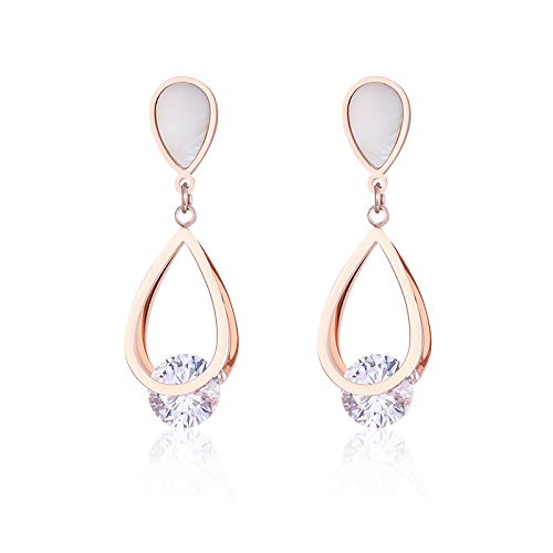 Yarmy Pendientes de diamantes en forma de gota de acero titanio y oro rosa pendientes de joyería de moda pendientes mujeres regalos