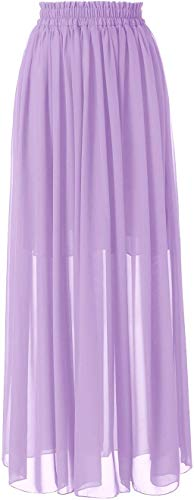 Topdress Women's Long Beach Skirt Elastic Waistband Chiffon Maxi Skirts Maternity Outfits Lavender XL