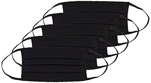 Oscar Apparels Wiederverwendbare Stoffmaske, 100% BCI Baumwolle mit elastischer Schlaufe, Schwarz, Erwachsene (5er Pack)
