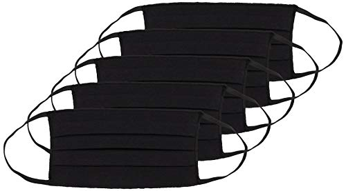 Oscar Apparels Reusable Face Mask, 100% BCI Cotton with Elastic Loop, Black, Adult (5 Pack)