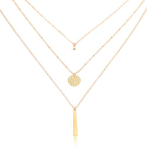 Yalice Multi-Layered Disc Necklace Chain Bar Drop Pendant Necklaces Coin Jewelry for Women and Girls (Gold)