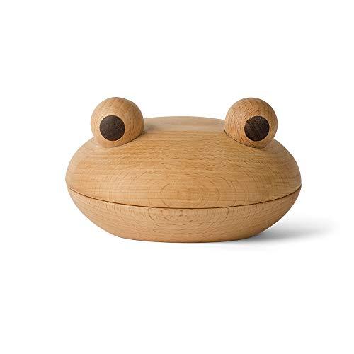 Spring Copenhagen - El cuenco rana - Cuenco decorativo de madera de haya y nogal - Diseño danés - Único - Hecho a mano - Idea de regalo