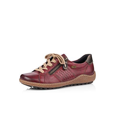 Remonte Damen Schnürhalbschuhe, Frauen sportlicher Schnürer,remonteTex, freizeitschuh leger Halbschuh Sneaker,Rot(vino),39 EU / 6 UK