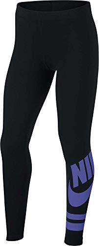 Nike Girl's Sportswear Favorites Graphic Leggings (Black/Violet, Large)