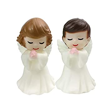 STOBOK 2 Pcs Cake Topper Angels Figurines Miniature Ornament Cake Decoration Topper Garden Car Sculpture for Wedding Birthday Party