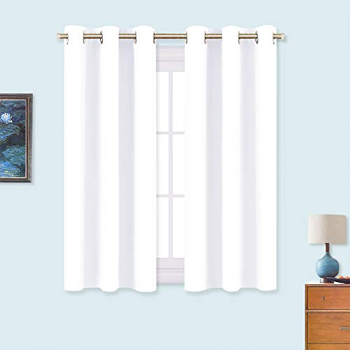 NICETOWN 50% Light Blocking Curtain Panels for Bedroom, Home Decoration Easy-Care Solid Grommet Draperies/Drapes, Window Covering for Kitchen (2 Panels, 34 by 54, White)