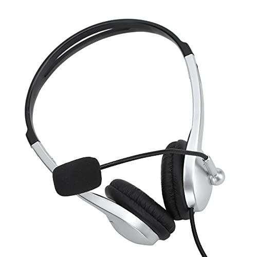 Weiyo Auriculares comerciales, Auriculares USB Suministros informáticos Diadema Ajustable con micrófono para Centro de Llamadas para Voz para conferencias telefónicas para presentaciones de