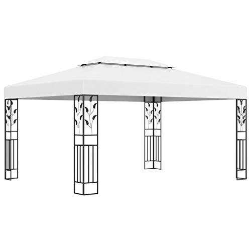 vidaXL Pavillon mit Doppeldach Witterungsbeständig Gartenzelt Partyzelt Festzelt Gartenpavillon Bierzelt Garten 3x4m Weiß Stoff Stahl