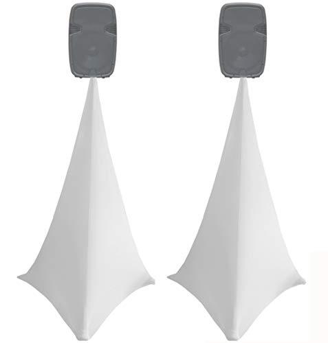 Lycra-Stativabdeckung für Lautsprecher, aus Elastan, Gitterstoff, beidseitig, 20 Farben erhältlich, 2 Stück weiß
