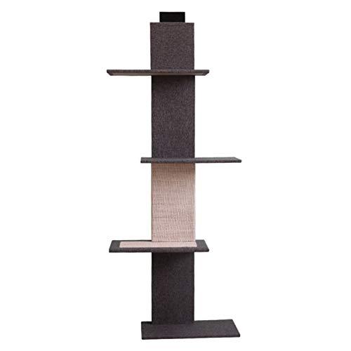 LXHONG Kratzbaum Massivholz Wandmontage Sprungplattform Multifunktion Treppe Blumenstand Schnapp Dir Die Säule (Farbe : Schwarz, größe : 44x24x150cm)
