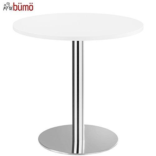 bümö® Säulentisch mit Chromsäule | Besprechungstisch | hochwertiger Meetingtisch in 3 Formen und 6 Dekoren (Weiß, Platte: rund-Ø 80cm)