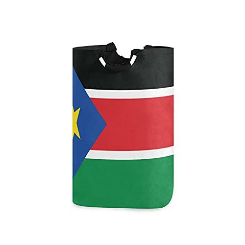 Wäschesammler mit Süd-Sudan-Flagge, groß, wasserdicht, faltbar, aus Leinen, mit Handgriffen für Aufbewahrungskorb, Kinderzimmer, Zuhause, Kinderzimmer, Babykorb
