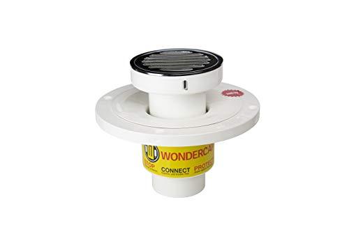 Wondercap Duschrinne mit 5,1 cm Duschablauf, ABS-Duschrinne | Fliesen-Duschablauf + rundes Chrom-Messing-Sieb