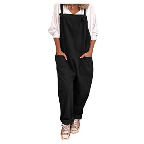 Topgrowth Tuta da Donna Sciolto Casuale Cascante Pantaloni con Bretelle Pantaloni di Harnes Pantalone Primavera Estiva (Nero, 3XL)