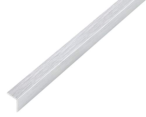 GAH-Alberts 489045 Winkelprofil | selbstklebend | Aluminium, edelstahldesign, hell | 1000 x 25 x 25 mm