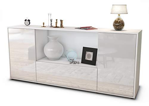 Stil.Zeit Sideboard Ella/Korpus Weiss matt/Front Hochglanz Weiß (180x79x35cm) Push-to-Open Technik