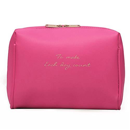 Aomerrt Femmes Cosmétique Sac Voyage Make Up Sacs Solides Mode Dames Maquillage Pochette Organisateur Kits Trousse De Toilette, rose