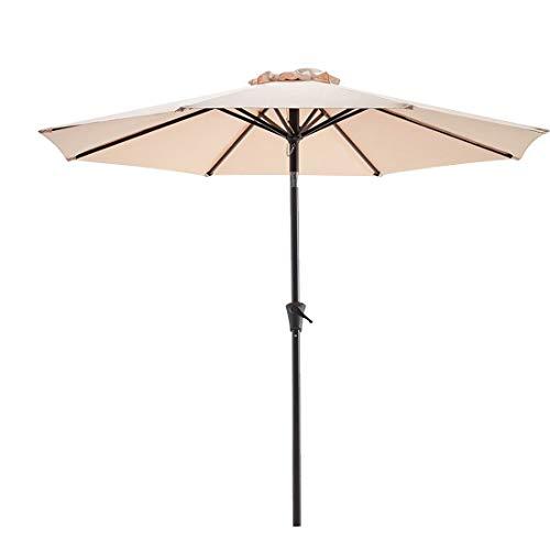 Bluu Patio Umbrella 9 Ft Outdoor Table Market Umbrellas With Push Button Tilt and Crank, 8 Ribs (Beige)