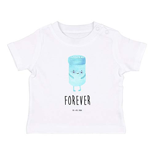 Mr. & Mrs. Panda , 3-6 Monate Baby T-Shirt Bestfriends-Salt mit Spruch - Farbe Weiß