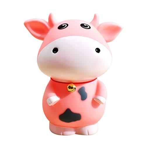 BESPORTBLE 2 Piezas Vaca Hucha Dibujos Animados Animal Moneda Banco Personalizado Dinero Ahorro Olla Escritorio Ornamento Regalo para Bebé Niños Estudiante (Rosa 15X18 Cm)