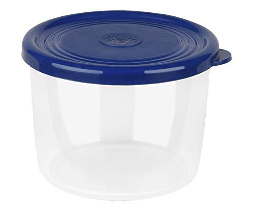 Emsa Kräuter-/Frischhaltedose mit extra softem Deckel, Rund/hoch, 0,15 L, Transparent/Blau, Superline, 517042