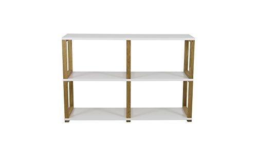 Tenzo 2322-001 Art Designer Regal/Raumteiler, Spannplatte/Massiv Eiche, Weiß / Eiche, 120 x 36 x 80 cm