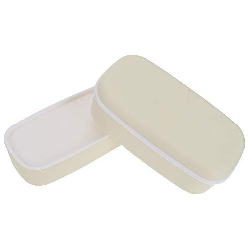 Cabilock Nevera Portátil Contenedor de Almacenamiento Bento Caja de Plástico de Doble Capa Bento Lonchera a Prueba de Fugas Lonchera Contenedor para Niños Adultos Blanco