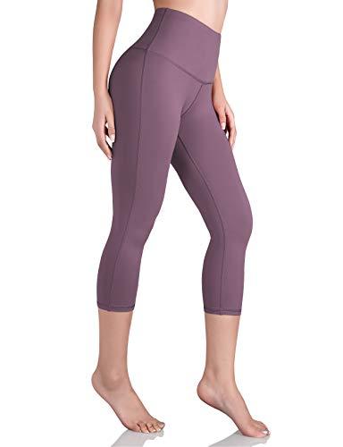 ODODOS Women's High Waist Yoga Capris, Tummy Control Yoga Leggings with Inner Pocket, Non See-Through 4 Way Stretch Workout Running Capris, Lavender, Medium