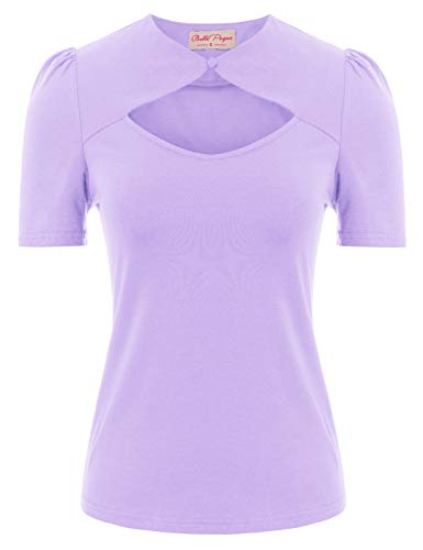 Plus Size Tops for Women Teens Girls Juniors Short Sleeve Lavender Tops Size 2XL