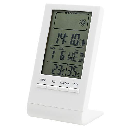 Victarvos Igrometro Termometro Digitale, Termometro Ambiente Interno con Calendario Sveglia, Misure di temperatura e Umidità per Casa, Ufficio, Magazzino, Termometro Igrometro Digitale, Bianco