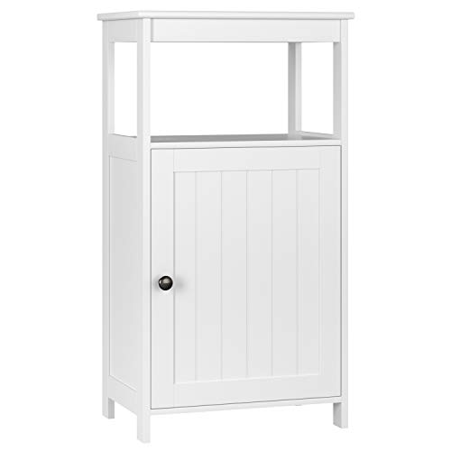 Homfa Bathroom Floor Cabinet Free Standing with Single Door Multifunctional Bathroom Storage Organizer Toiletries(Ivory White)