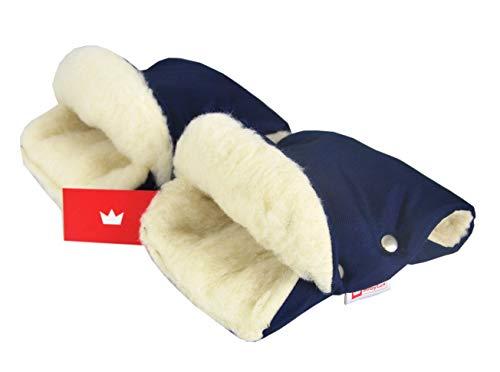 BABYLUX MUFF Handmuff PLÜSCH/WOLLE Handwärmer für Kinderwagen Buggy Handschuh 2 Stück (13. Marine Blau + Lammwolle)