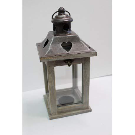 Lanterna In Legno E Metallo Vintage, Portacandele, Decorazione Da Matrimonio, Da Giardino, Black, Square - Metal Top