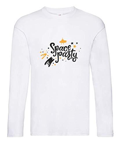 Druckerlebnis24 - Camiseta de Manga Larga para Hombre y Mujer, diseño de Nave Espacial con Estrellas Blanco XXXL