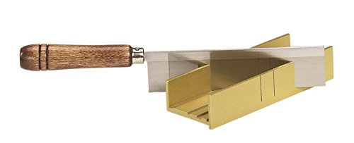 Olson Saw 35-241 Fine Kerf Saw 35-550 42 tpi with Aluminum Thin Slot Miter Box, Slot Size .014-Inch, Slot Angles 45, 60, 90, Cutting Depth 7/8-Inch