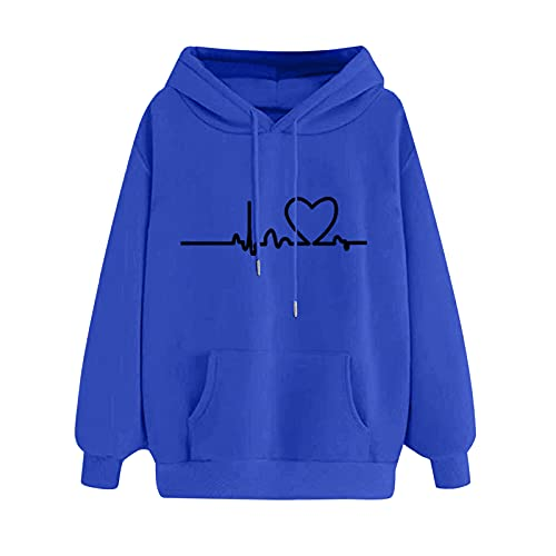 Briskorry Sudadera con capucha para mujer, de un solo color, con bolsillo, cordón ajustable, para otoño e invierno, para niñas, A-azul., S