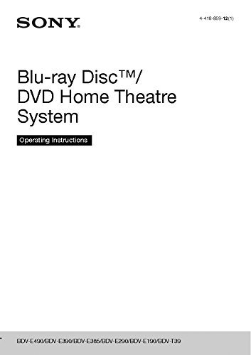 Sony BDV-E390 Blu-ray Player Owners Instruction Manual Reprint [Plastic Comb]