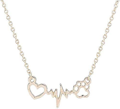 ZPPYMXGZ Co.,ltd Collar de Moda Lindo Collar Perro Mascota Huella corazón Amor Cadena Colgante Collar y Colgante joyería Mujeres Collar