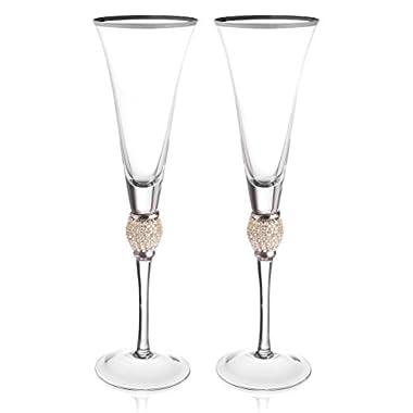 Trinkware Set of 2 Champagne Flutes - Rhinestone DIAMOND Studded Glasses With Silver Rim - Long Stem, 7oz, 11-inches Tall – Elegant Glassware And Stemware